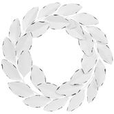 White Leaf Wreath Metal Wall Decor