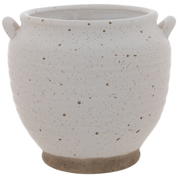White & Brown Splattered Pot