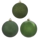 Green Glitter, Shiny & Matte Ball Ornaments