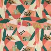 Green & Rust Boho Patch Apparel Fabric