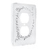 Distressed White Scroll Metal Outlet Cover