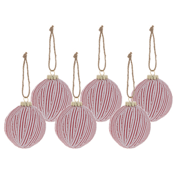 White & Red Striped Round Ornaments