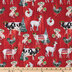Festive Farm Animals Cotton Fabric