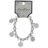 White Snowflake Glass Beaded Bracelet