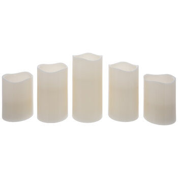 Remote Controlled White LED Pillar Candles
