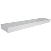 Antique White Floating Wood Wall Shelf - Large