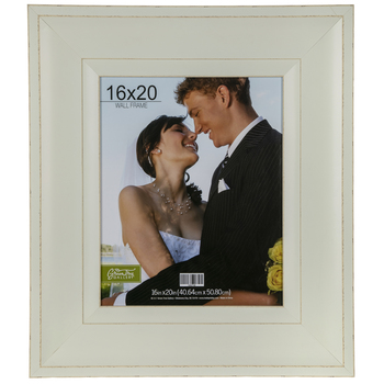 """Distressed White Wood Wall Frame - 16"""" x 20"""""""