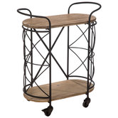 Cross Frame Metal Two-Tiered Cart