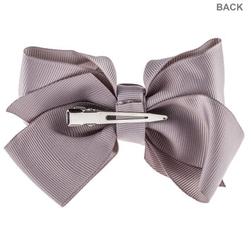 Gray Grosgrain Bow Hair Clip