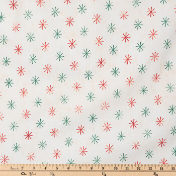 Red & Green Starburst Duck Cloth Fabric