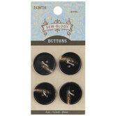 Black, Brown & Cream Round Buttons - 20mm