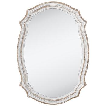 Whitewash Scalloped Wood Wall Mirror, Whitewash Oval Wood Wall Mirror