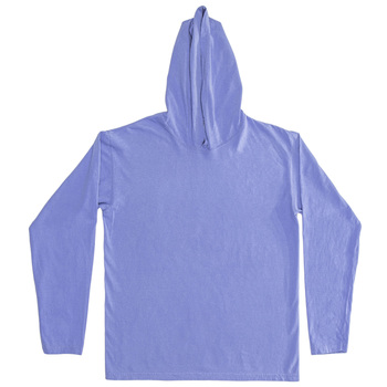 Flo Blue Adult Long Sleeve Hooded Comfort Colors T-Shirt - Extra Large