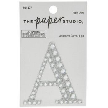 Silver Glitter & Rhinestone Letter Sticker - A