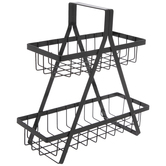 Black Two-Tiered Metal Basket Tray