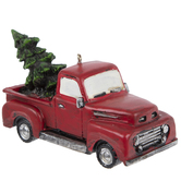 Red Vintage Truck With Tree Ornament