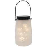 White Snowflake Glass Lantern