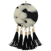 Black & White Marble Pendant With Tassels