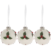 Holly Ball Ornaments