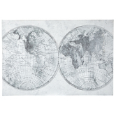 Gray & Black World Map Canvas Wall Decor