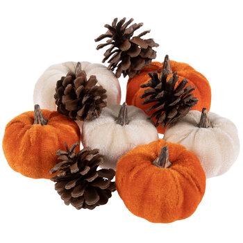Orange Velvet Pumpkins & Pinecones