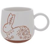 White & Brown Floral Bunny Mug
