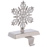 Silver Snowflake Metal Stocking Holder