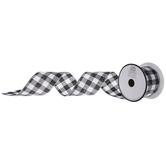 "Black & White Glitter Buffalo Check Wired Edge Ribbon - 2 1/2"""