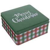 Red & Green Plaid Merry Christmas Tin Box