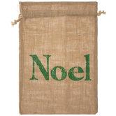 Noel Burlap Drawstring Gift Bag