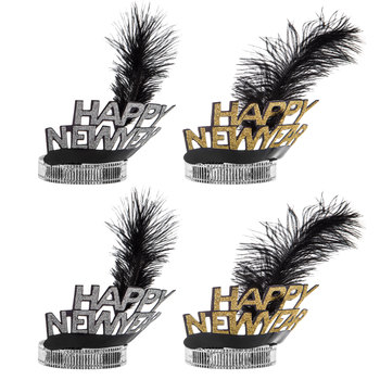 Happy New Year Glitter & Feathers Tiaras