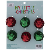 Red & Green Sequin Ball Ornaments