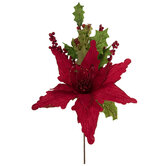Red Poinsettia & Holly Pick