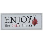 Enjoy The Little Things Ladybug Wood Decor