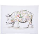 Floral Pig Canvas Wall Decor