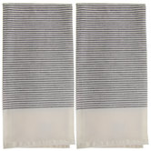 White & Gray Woven Striped Kitchen Towels