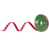 "Red Snowflake Single-Face Satin Ribbon - 3/8"""