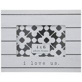 "I Love Us Striped Wood Frame - 6"" x 4"""