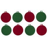 Green & Red Felt Ball Ornaments