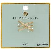 Cubic Zirconia Criss-Cross Ring - Size 7