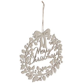 Merry Christmas Wreath Wood Ornaments