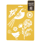 Flower & Bird Stencil