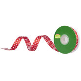 "Red & White Polka Dot & Striped Wired Edge Ribbon - 5/8"""