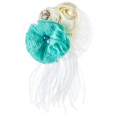 Turquoise & Cream Flower Embellishment