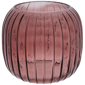 Plum Ridged Round Glass Vase