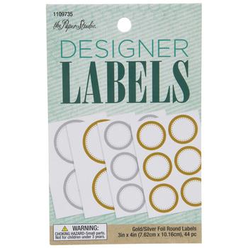 Silver & Gold Round Foil Border Designer Labels
