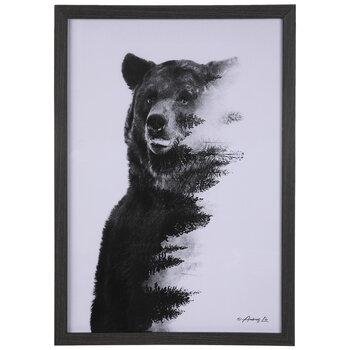 Bear With Forest Framed Wall Decor