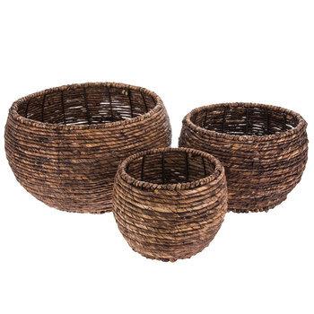 Dark Brown Round Maize Baskets