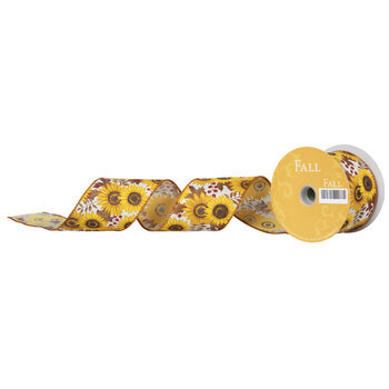 "Sunflower Burlap Wired Edge Ribbon - 2 1/2"""
