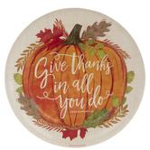 1 Thessalonians 5:18 Pumpkin Paper Plates - Large